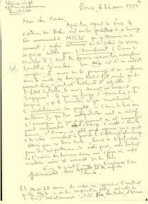 Lettre de Claude Vigée, 26 mars 1995. Poète, traducteur, essayiste, Claude Vigée compose depuis 50 ans des œuvres empreintes d'une grande spiritualité et d'une grande générosité. Ses travaux ont été récompensés par de nombreux prix littéraires français et étrangers.