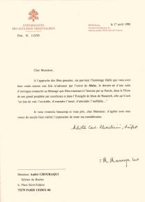 Lettre du Cardinal Silvestrini, 1er avril 1995. Achille Silvestrini a été l'un des plus éminents diplomates du Vatican durant le long règne de Jean-Paul II. Il était cardinal, préfet de la Congrégation pour les Eglises orientales entre 1991 et 2000.