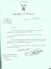 Lettre du Président du Cameroun, Paul Biya, 27 février 1995. Homme politique camerounais, il devint Président du Cameroun en 1982.