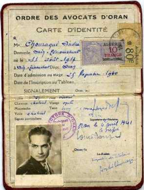 Carte d'identité, 4 avril 1941. Carte d'identité de l'ordre des avocats. Oran.