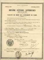 Diplôme d'Études Supérieures, 24 janvier 1949. Droit public, faculté de Droit de Paris.