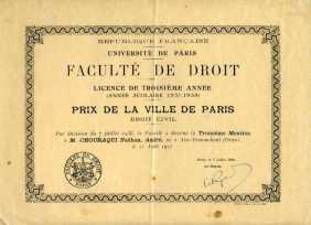 Prix de la ville de Paris, 1937-1938. Licence de troisième année de Droit.