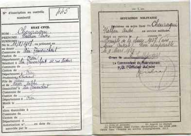 Livret militaire, 6 juillet 1948. A. Chouraqui est exempté de service en 1937 pour cause de poliomiélyte.