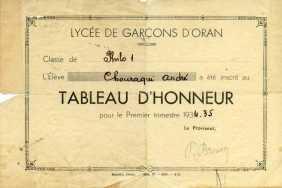 Tableau d'honneur, 1934-1935. Classe de philosophie, lycée Lamoricière, Oran.
